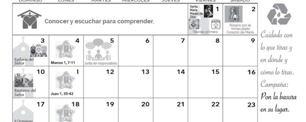 Calendario Enero 2021